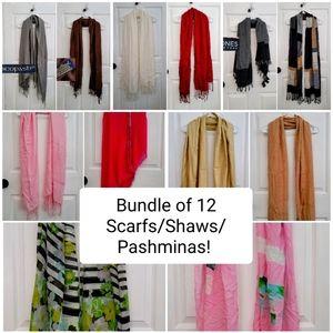 BUNDLE of 12 Scarves / Shaws / Pashminas